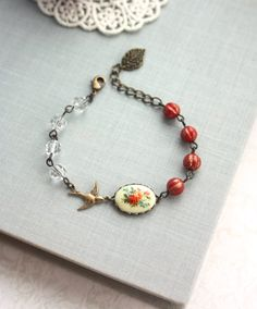 Vintage Floral Bouquet Bird Bracelet. Rustic Red Melon Glass Beads Adjustable Bracelet. Gifts for BFF. Sister. Bridesmaid Gift. Christmas.