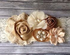 Vintage inspired Ivory taupe satin lace headband,cream flower headband-any size, baby,m2m persnickety-photo prop-flower girl- bridal