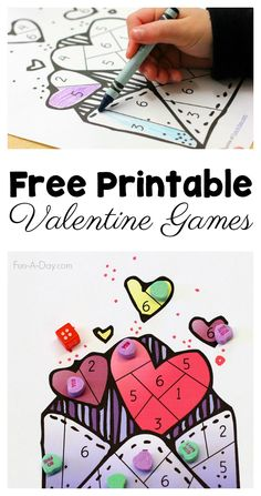 Free Printable Valentine Games for Preschoolers to Play Free Printable Valentine Games for Preschoolers to Play Mary Catherine @ Fun-A-Day! Preschool Math Activities Free printable valentine games for preschoolers. The kids will love these dice games! Games For Kids Classroom, Kindergarten Games, Classroom Activities, Preschool Crafts, Preschool Activities, Valentines Games, Valentines Day Activities, Valentine Nails, Valentine Ideas