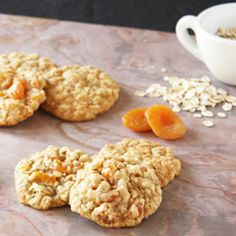 Oatmeal Apricot Cookies - golden and chewy cookies studded with dried apricots