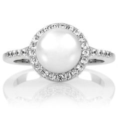 June Birthstone Ring: Faux Pearl with Halo of CZs
