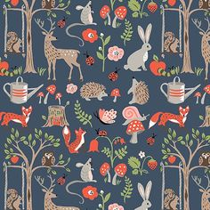 Cottage Garden Poplin Blue by Monaluna Organic Fabric