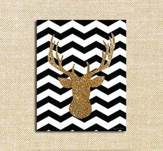 Chevron Gold Glitter Deer Digital Winter Art Printable Holiday and Christmas Decor