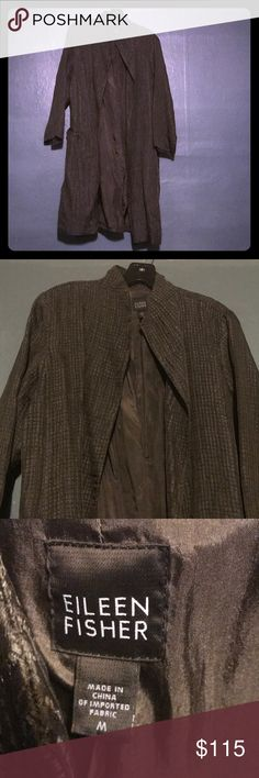 Eileen Fisher Long Open Front Jacket Eileen Fisher olive green crinkle print open front long jacket. Size medium. Gently used. Lightweight. Eileen Fisher Jackets & Coats Blazers