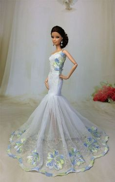 Royalty Mermaid Dress Party Dress/Wedding Clothes/Gown For Barbie Doll F43 #FitForBarbieDoll911