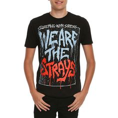 Hot Topic Sleeping With Sirens We Are The Strays T-Shirt ($16) ❤ liked on Polyvore featuring men's fashion and men's clothing