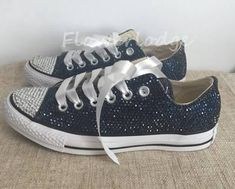 Flowerlodge Navy Rhinestone Converse Shoes Glitter Converse ...