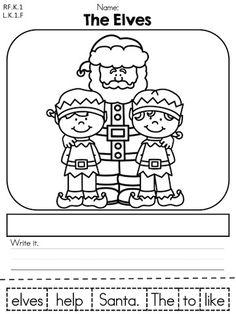 The Elves Scrambled Sentence >> Part of the Christmas Kindergarten Literacy Worksheet packet