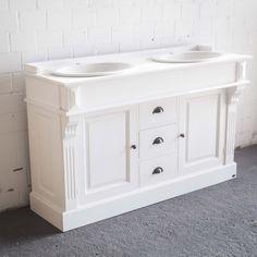 Waschtischunterschrank weiß landhaus  Doppelwaschtisch mit Unterschrank, Vintage Look, romantischer ...