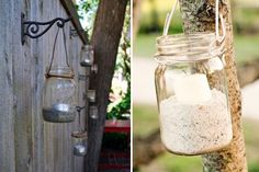 Use glass jars, wire, sand and candles to create your own outdoor lighting, perfect for summer soirées. You can do the crafty work indoors, and then hang them along a fence or trees. Take them down before it rains. Fence Lighting, Outdoor Lighting, Mason Jar Lanterns, Jar Candles, Crafts With Glass Jars, Yard Party, Master Bedroom Makeover, Mason Jar Diy, Tea Light Holder