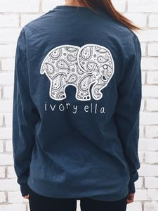 5f1a8fab7 Navy Elephant Print Long Sleeve Shirt