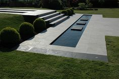 Contemporary garden with pool
