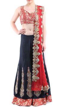 #Navy #Blue & #Red Zari Embroidered Silk #Brocade #Sharara Set