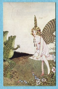 """S5514 Postcard Ida Outhwaite """"They Stood in Front of Her"""" Frogs and Fairy 