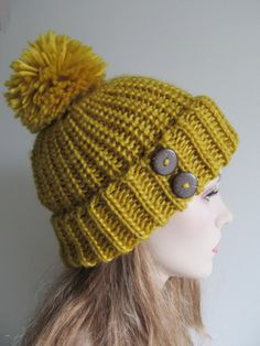 Chunky Mustard Gold Beanie Wool Hats Two Wooden ❤ by Lacywork, $32.99