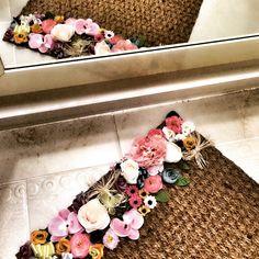 Kapı paspası çiçekli paspas