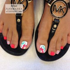 67 New Ideas summer pedicure designs toenails Pretty Toe Nails, Cute Toe Nails, Cute Toes, Pretty Toes, Fancy Nails, My Nails, Trendy Nails, Bright Toe Nails, Gorgeous Nails
