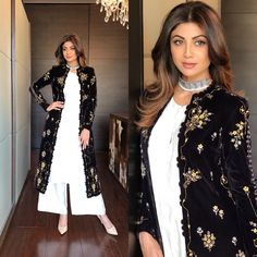 Spotted: makes for a stunning style icon in Pishtaq collection outfit featuring a black embroidered jacket that is to die for ✨ this outfit at Carma by sending us a screenshot at Kurta Designs, Blouse Designs, Pakistani Dresses, Indian Dresses, Indian Outfits, Indian Attire, Indian Wear, Indian Designer Outfits, Designer Dresses