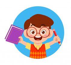 Feliz lindo niño niño escolar leer libro... | Premium Vector #Freepik #vector #escuela Reading Cartoon, Kids Graphics, Learning Time, Crayon Art, Vector Freepik, Cartoon Pics, Indiana Jones, Painting For Kids, Emoticon
