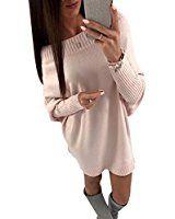 Women's Pullover Sweater Dress Bat Sleeve Short Off Shoulder Knit Dress Pink S
