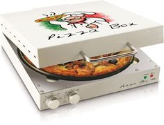 A pizza oven designed to look like a pizza box. This compact, square oven cooks fresh pizza, frozen pizza, and can reheat cold pizza. For a person or family that eats a lot of pizza, this little device makes the cooking process easy and quick. Cool Kitchen Gadgets, Kitchen Tools, Cool Kitchens, Kitchen Dining, Kitchen Appliances, Kitchen Products, Kitchen Utensils, Kitchen Sink, Pizza Box Oven