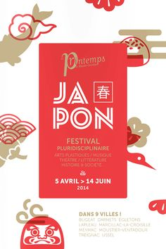 Festival Japon's clean and elegant poster design. By Printemps de Haute Corrèze for the Centre d'art contemporain de Meymac. Japan Design, Web Design, Layout Design, Print Design, Graphic Design Posters, Graphic Design Inspiration, Typography Design, Branding Design, Lettering