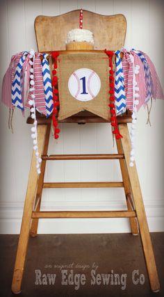 BASEBALL Birthday Age High Chair Highchair by RawEdgeSewingCo
