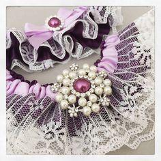 Bridal garter set Cadbury Purple Wedding Garter set by GarterQueen Bride Garter, Lace Garter, Garter Set, Cadbury Purple Wedding, Wedding Garters, Ribbon, Pearls, Bridal, Crystals