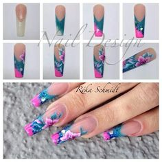 Nail design by Reka S. 3d Nails, Love Nails, Pink Nails, How To Do Nails, Acrylic Nails, Acrylics, Long Nail Designs, Nail Art Designs, Nail Art Diy
