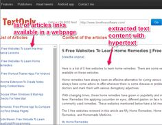 TextOnly is a free website to extract text from webpage or article link. It saves bandwidth by simply presenting text content and text hyperlinks. Computer Network, Free Website, Android Apps, Internet, Learning, Teaching, Studying