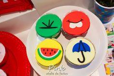 Blog Encontrando Ideias Cupcakes, Biscuits, Happy Birthday, Drawings, Creative, Party, Diy, Decorated Cookies, Meals