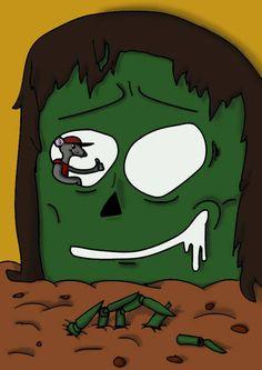 """""""Caveira (verde?)coberta por um pano (Cabelo?), Com a cabeça na terra (biscoito?)"""""""