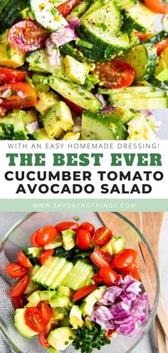 Jan 2020 - This Cucumber Tomato Avocado Salad is a quick and refreshing side dish for summer. The easy homemade dressing and fresh herbs make this the best ever summer salad! Great as a healthy addition to your next BBQ. Best Avocado Recipes, Healthy Salad Recipes, Avocado Ideas, Healthy Meals, Side Dishes For Bbq, Summer Side Dishes, Sides For Bbq, Bbq Salads, Avocado Dessert