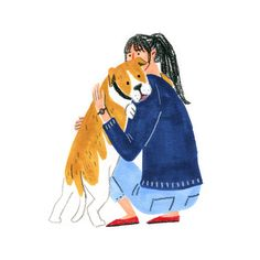 spoils of matter Hug Illustration, Winter Illustration, Pet Station, Daily Drawing, Girl And Dog, Beautiful Drawings, Naive, Dog Art, Illustrations Posters