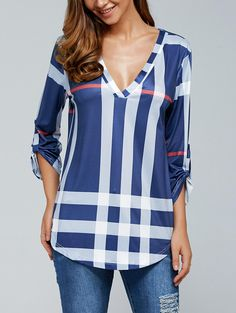 V Neck 3/4 Sleeve Plaid Blouse