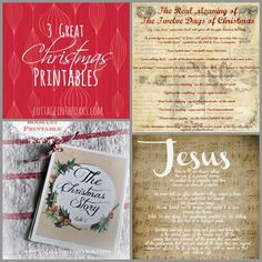 3 Great Christmas Printables---great for each place setting at the Christmas table or attached to gifts!