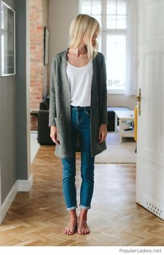 Blue jeans, white tee and a grey coat