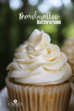 Marshmallow Buttercream Fluffy and light, this buttercream pipes easily onto cupcakes and covers cakes like a dream. Marshmallow Frosting Recipes, Buttercream Recipe, Cupcake Recipes, Cupcake Cakes, Dessert Recipes, Homemade Cupcake Icing, Marshmallow Buttercream Frosting Recipe, Marshmallow Cupcakes, Creative Cake Decorating
