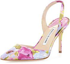 Manolo Blahnik Carolyne Floral High-Heel Halter Pump, Multicolor