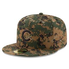 Men's Chicago Cubs New Era Digital Camo 2016 Memorial Day 59FIFTY Fitted Hat, Your Price: $37.99