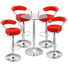 Glamorous Tall Tables With Bar Stools And Round Glass Tabletop Design Also Red Round Padded Stool Seat And Back Rest from Kitchen Design - Ideas and Picture