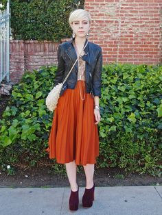 Motel Rocks burnt orange midi skirt Luna Lagoon Buddha choker ...