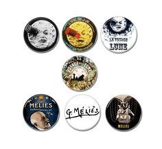 Le Voyage Dans La Lune / Trip To The Moon buttons badges set of 7!  #georgemelies #levoyagedanslalune #triptothemoon #filmnoir #blacknwhitefilm #silentfilm #buttons #pinbacks #badges