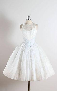Vintage 1950s White Polka Dot Organza Dress
