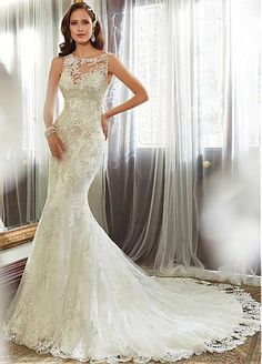 Gorgeous Tulle Bateau Neckline Natural Waistline Mermaid Wedding Dress With Beaded Lace Appliques