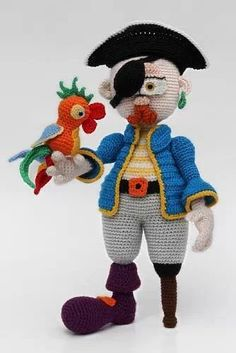 Inspiration; crochet; amigurumi; pirate and bird  ~~~   ≧◔◡◔≦