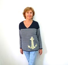 Vintage Nautical Anchor Striped Navy Blue and by KMalinkaVintage