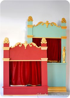 How to Make a Puppet Theatre for Children: DIY Tutorial : Staging a play in a puppet theatre is a great family activity for kids and adults alike! Read our tutorial on how to make a vintage-inspired wooden puppet theatre. Shadow Puppets, Hand Puppets, Finger Puppets, Diy For Kids, Crafts For Kids, Diy Pour Enfants, Wooden Puppet, Toy Theatre, Shadow Theatre