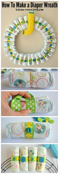 How To Make a Diaper Wreath For a Baby Shower {Crafty Concoctions} - Kitchen Concoctions