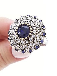 Turkish 925 Sterling Silver Hurrem Sultan Sapphire Popular Ladies Ring Size 8